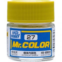 Mr. Color 27 - Interior Green (Semi-Gloss/Aircraft) (C27)